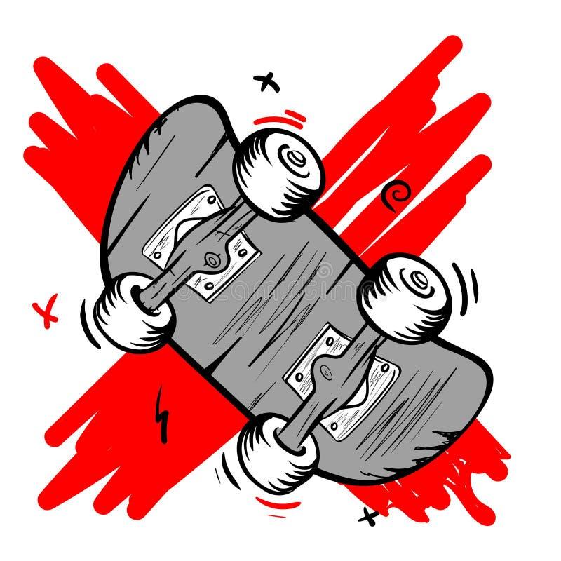 Autentyczny je?dzi? na deskorolce logo w stara szko?a stylu Deskorolka krzyżujący za czerwonej farbie z ilustracji