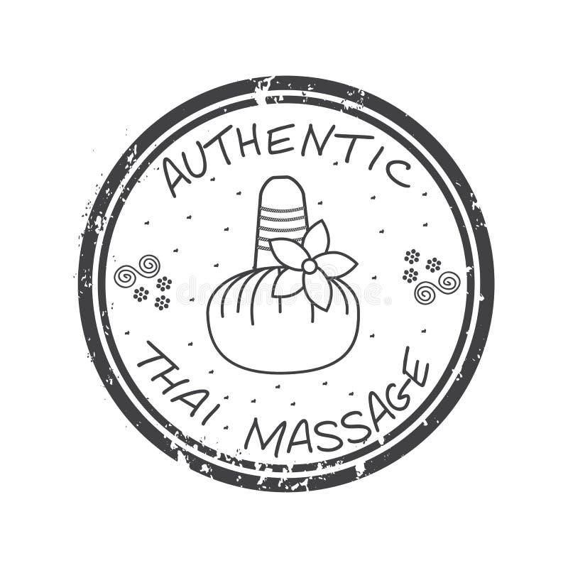 Autentyczny tajlandzki masaż Stemplowy Tajlandzki masaż w szarość ilustracji