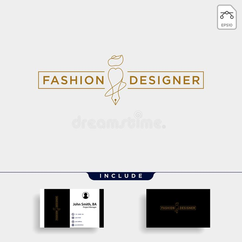 auteur ou concepteur de mode dans la ligne simple ?l?ment d'ic?ne d'illustration de vecteur de calibre de logo illustration stock
