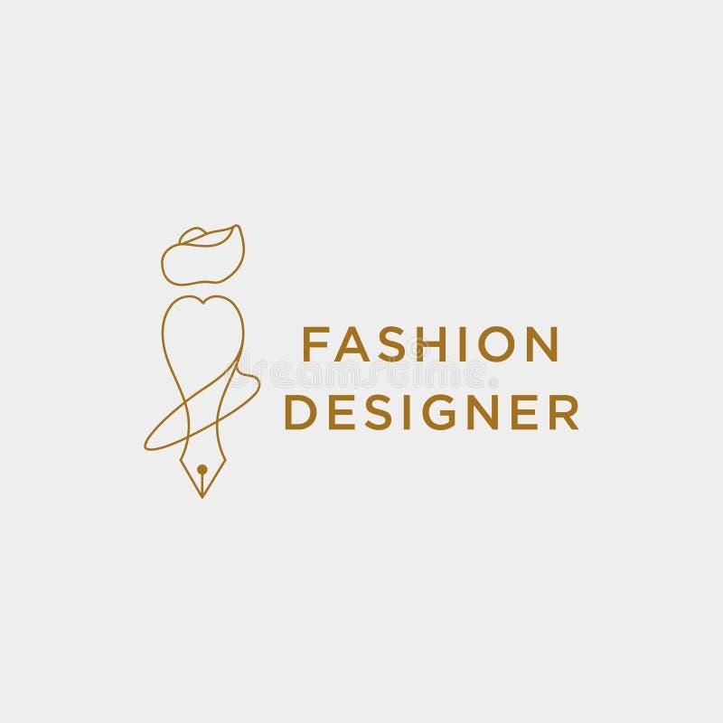 auteur ou concepteur de mode dans la ligne simple ?l?ment d'ic?ne d'illustration de vecteur de calibre de logo illustration libre de droits
