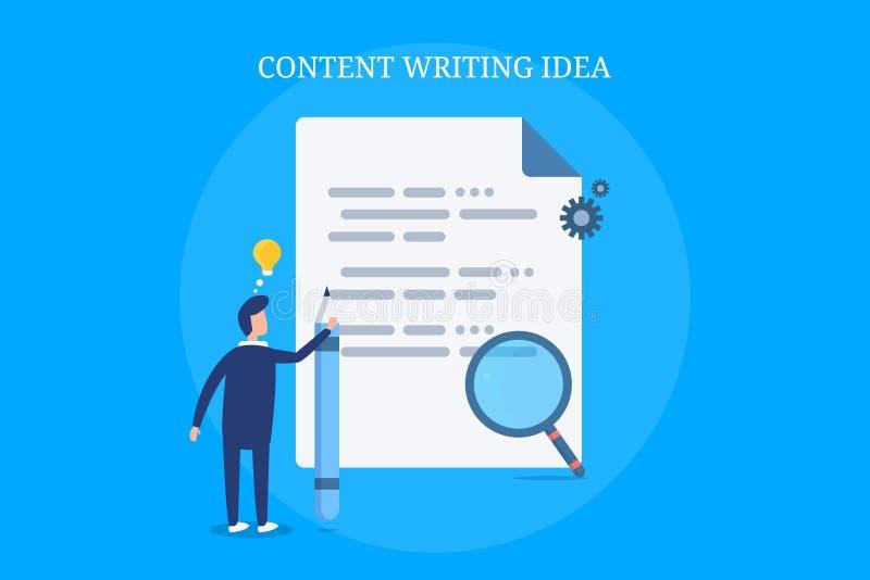 Auteur satisfait pensant à la nouvelle idée satisfaite, recherche, développement, rédaction publicitaire, recherche, concept créa illustration de vecteur