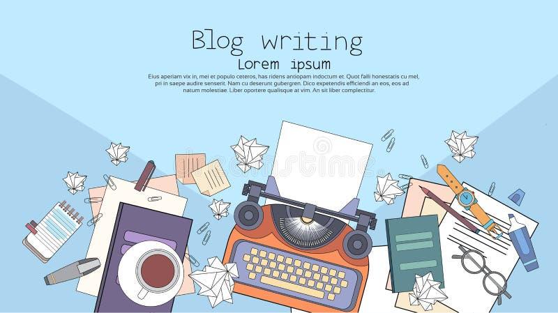 Auteur Workplace Desk d'auteur de machine à écrire illustration de vecteur