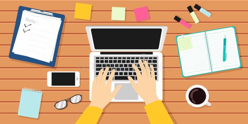 Auteur Workplace Vector Illustration Auteur, journaliste, ordinateur portable illustration libre de droits