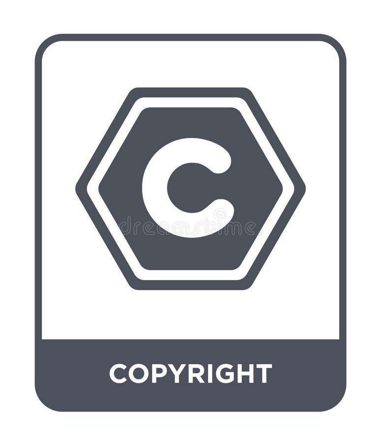 auteursrechtpictogram in in ontwerpstijl auteursrechtpictogram op witte achtergrond wordt geïsoleerd die eenvoudige en moderne vl stock illustratie