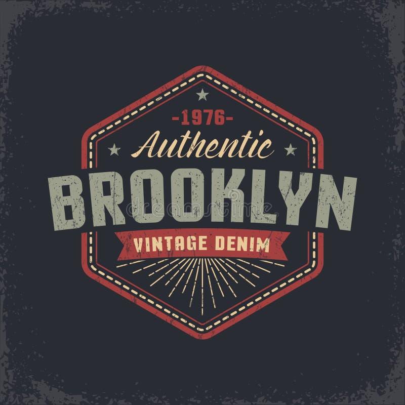 Authentic Brooklyn grunge retro design royalty free illustration