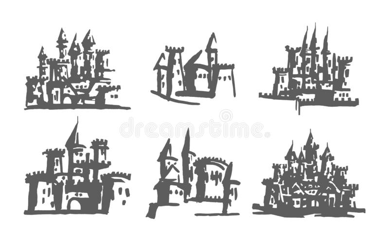 Authentic Castle tower hand drawn stock illustration