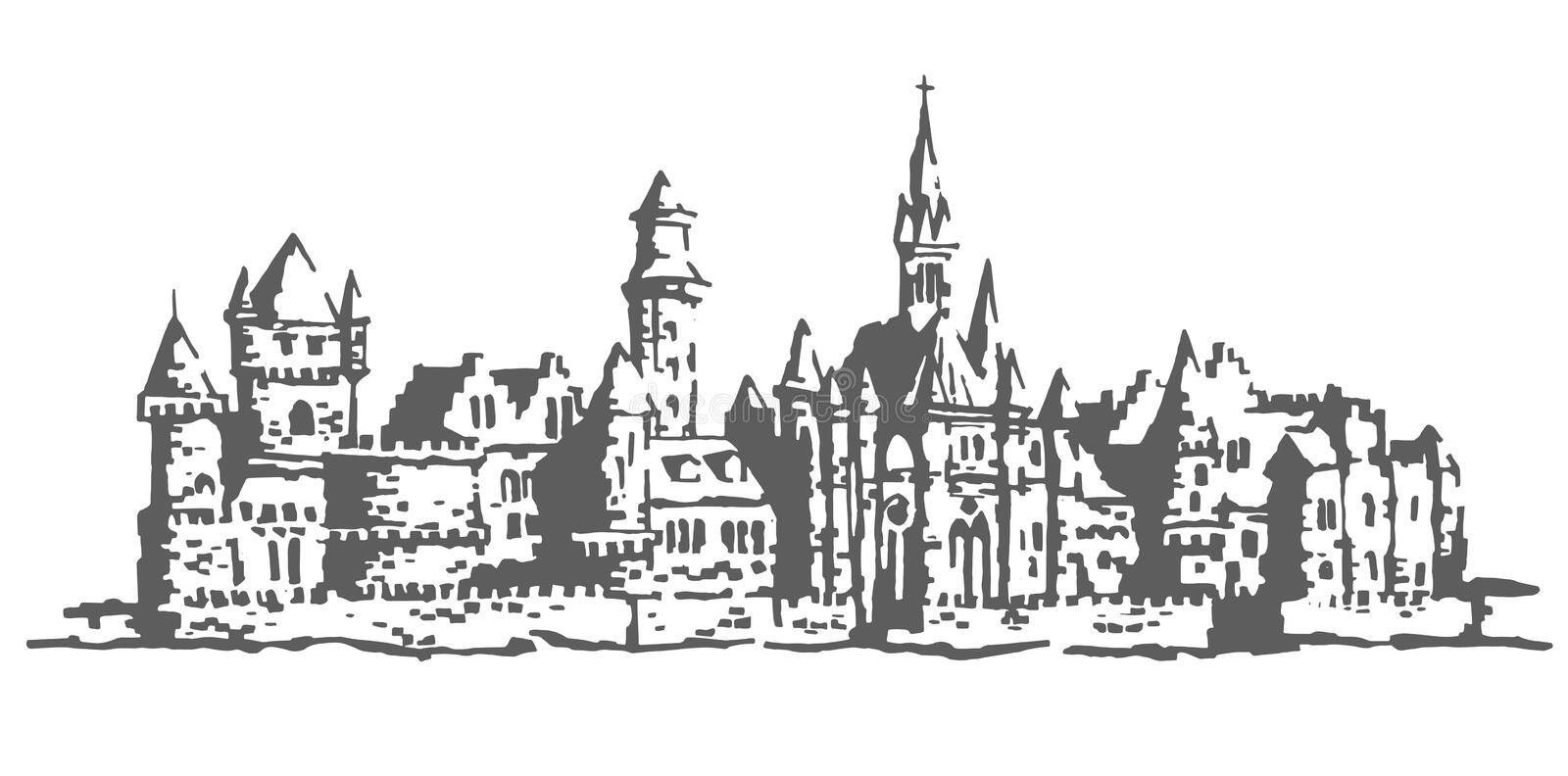 Authentic Castle tower hand drawn royalty free illustration
