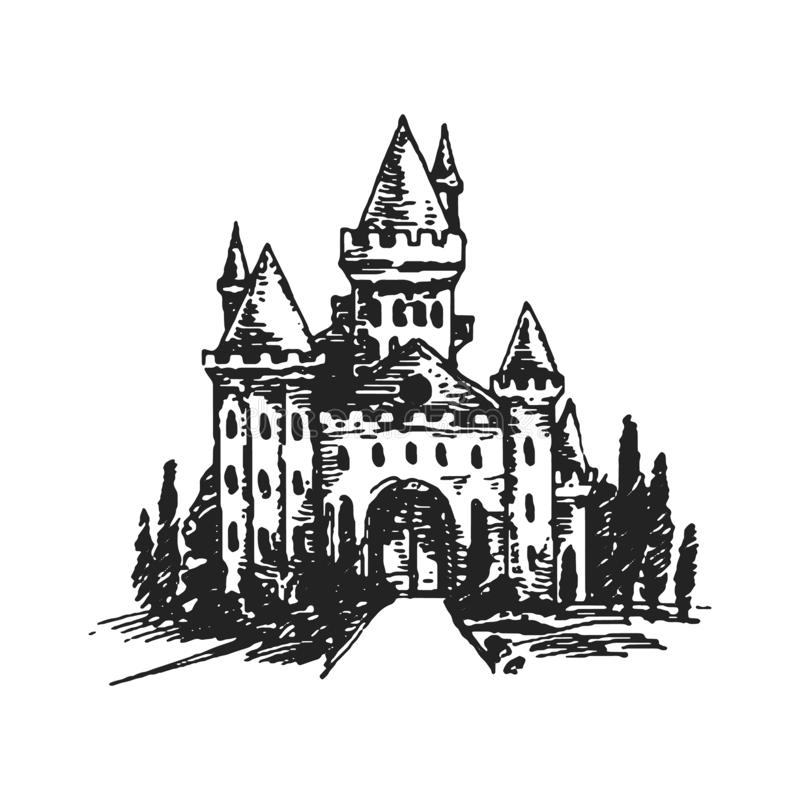 Authentic Castle tower hand drawn vector silhouette illustration vector illustration