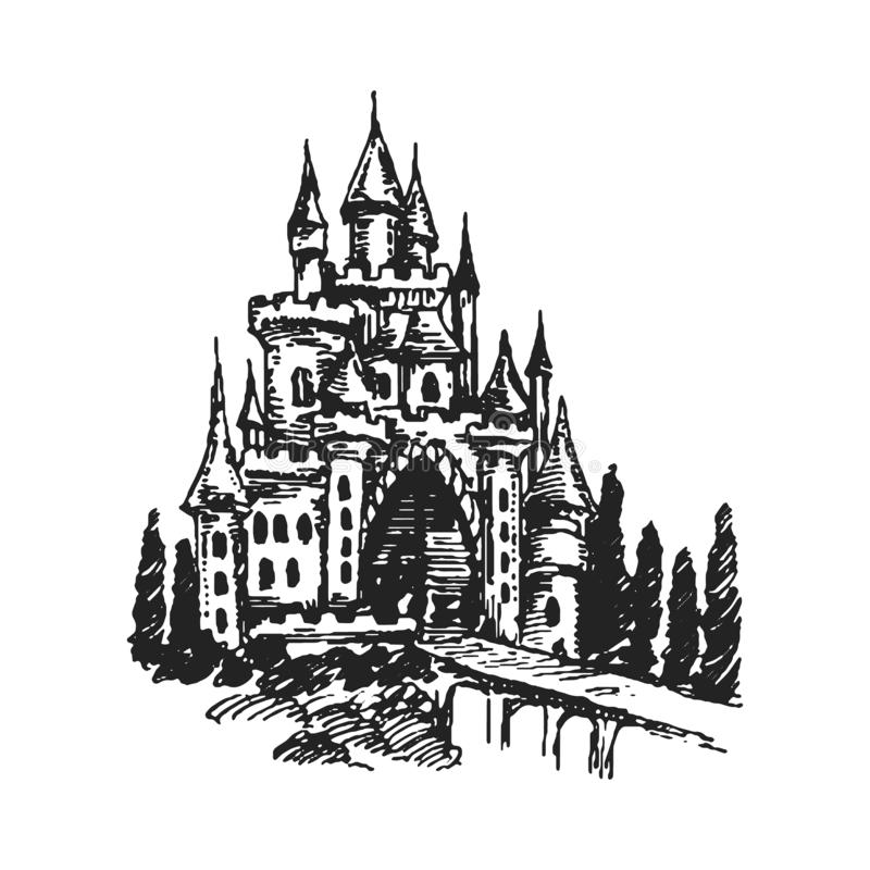 Authentic Castle tower hand drawn vector silhouette illustration royalty free illustration
