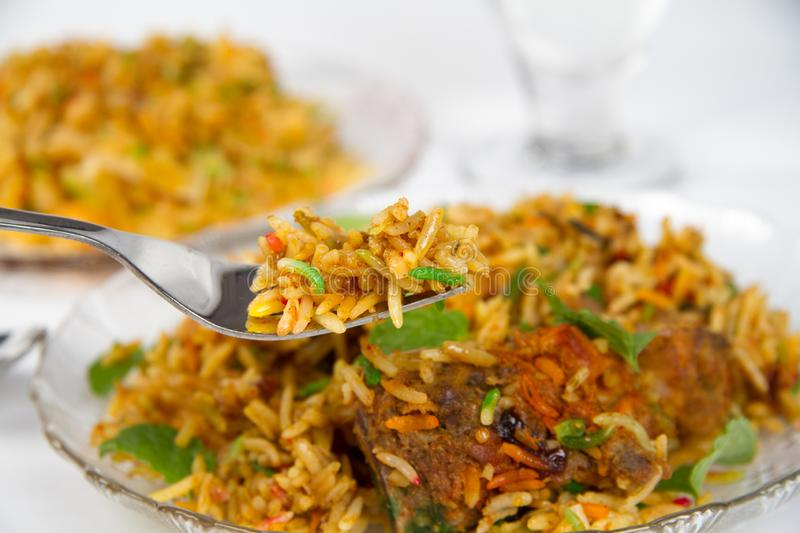 Authentic Chicken Biryani stock images