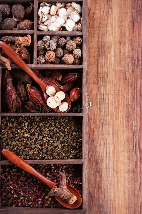 Authentic collection Chinese spices royalty free stock photo