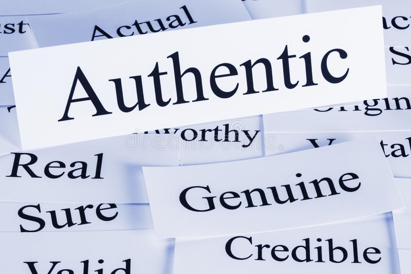Authentic Concept in Words. Authentic Concept - a conceptual look at authenticity, authentic, genuine, credible, actual, real sure stock images