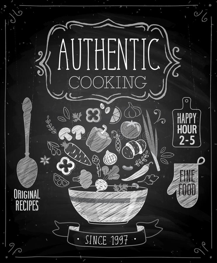 Authentic cooking poster - chalkboard style. royalty free illustration