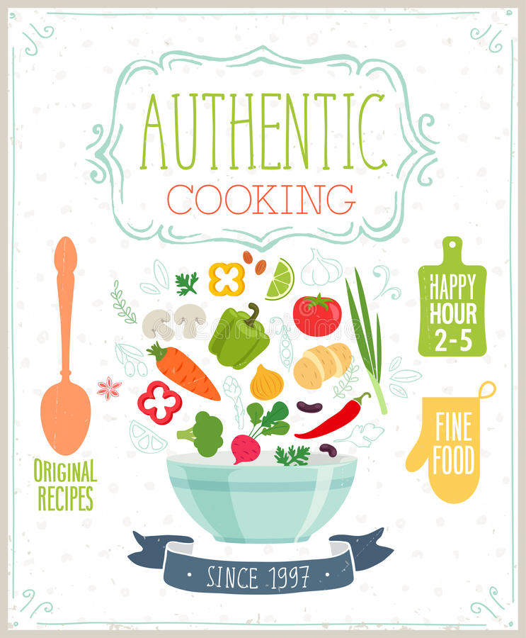 Authentic cooking poster. vector illustration