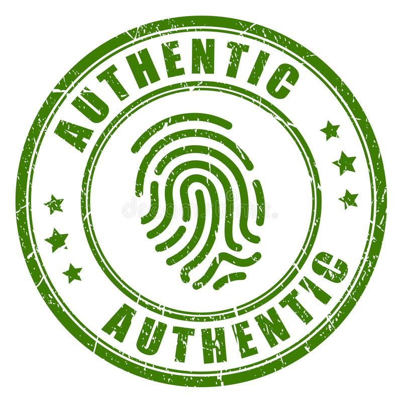 Authentic fingerprint vector stamp stock illustration