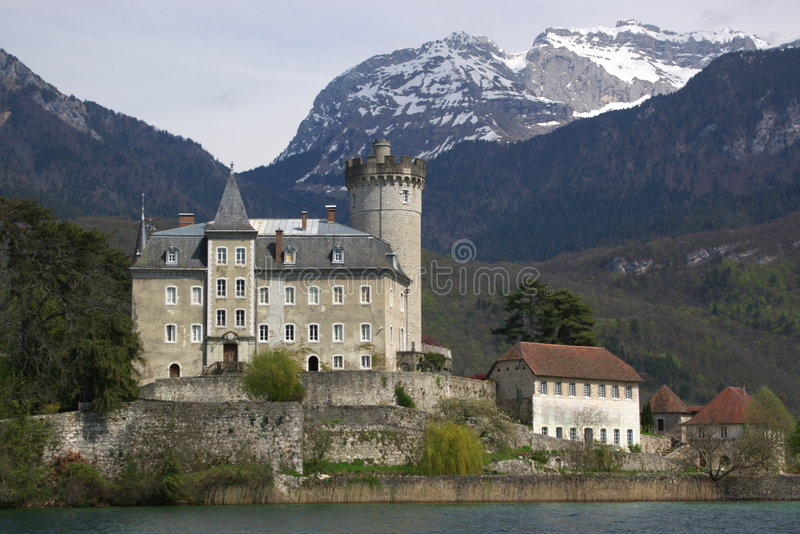 Authentic french castle Duingt stock photography