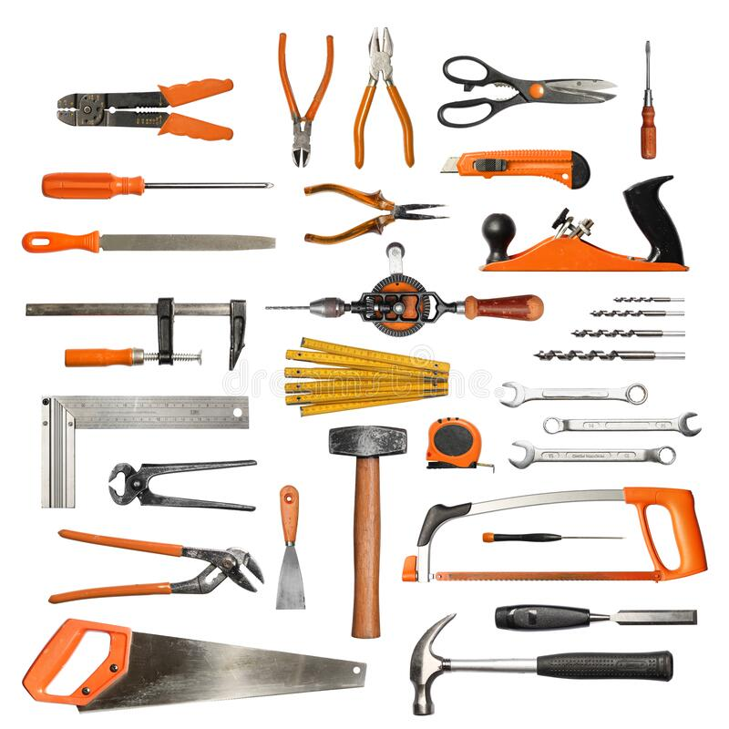 Authentic hand tools set on white background stock photos