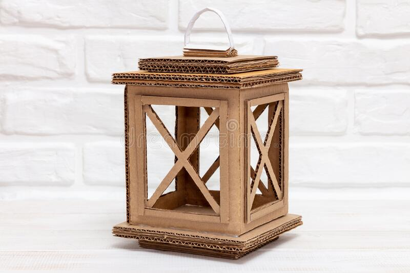Authentic handmade lantern made of carton royalty free stock photo