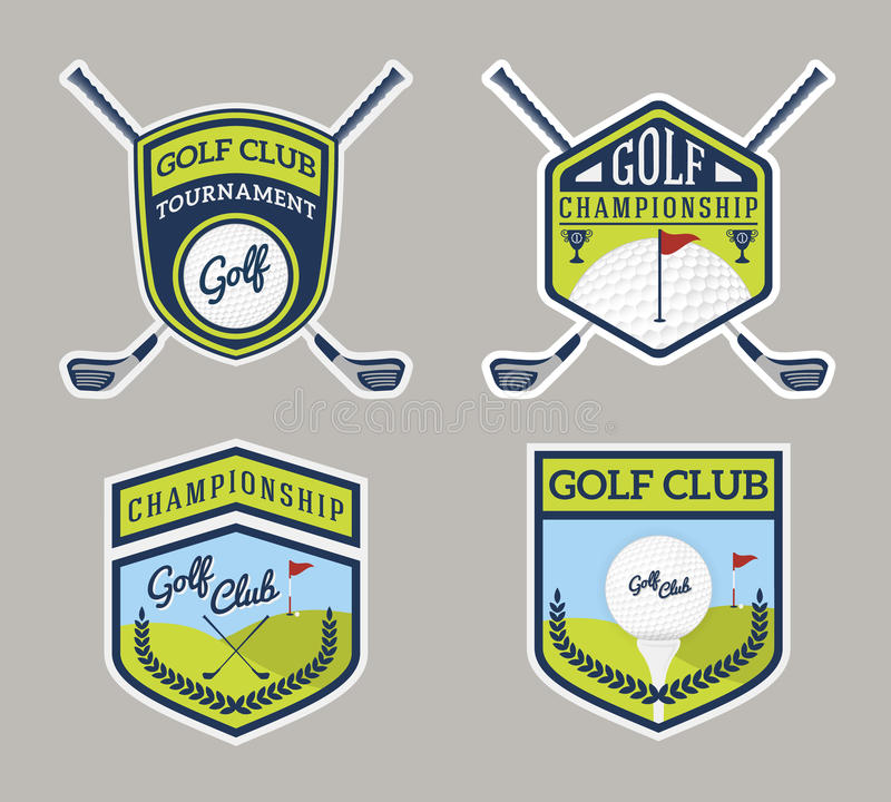 Authentic Modern Golf Sport Badge Logo Design. For logo, label, emblem, insignia, T-shirt screen, sticker and printing media royalty free illustration