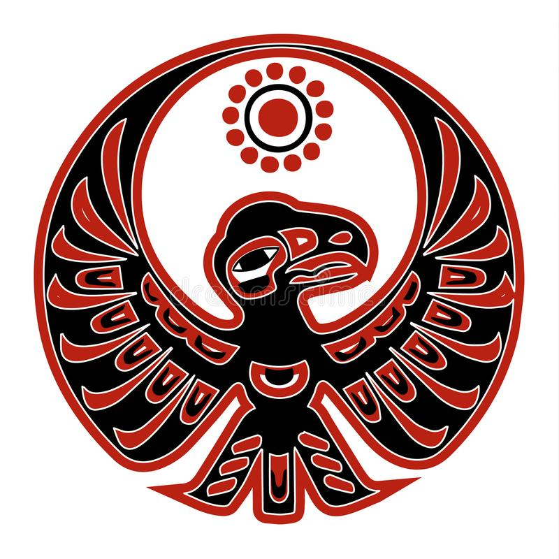 Authentic native american black-red eagle stock illustration