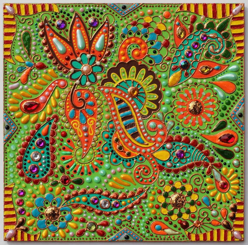 Authentic original handmade craftwork painting. In ukrainian traditional karakoko style, square floral carpet pattern with jewelry stones royalty free stock photo