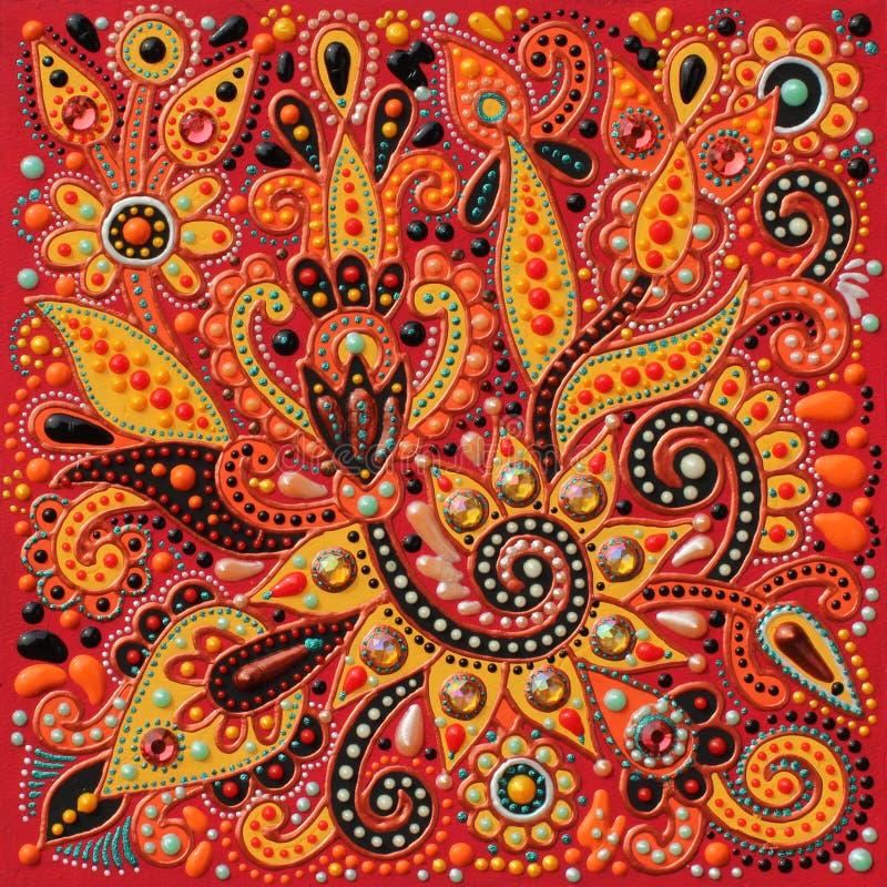 Authentic original handmade craftwork painting. In ukrainian traditional karakoko style, square floral carpet pattern with jewelry stones stock photos