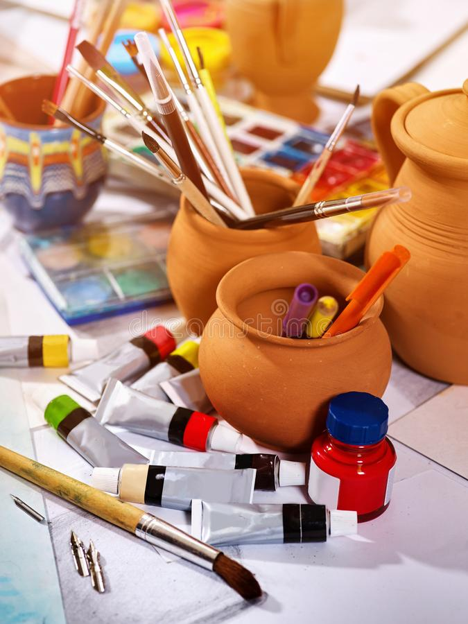 Authentic Paint Brushes Still Life On Table In Art Class School ...