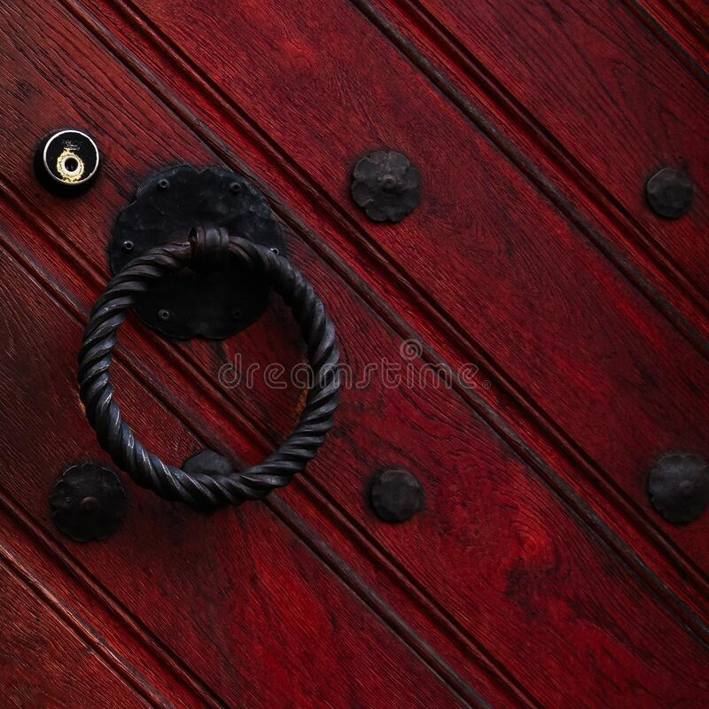 Free Authentic Red Wooden Front Door Of An Old European House. Royalty Free Stock Image - 171972906