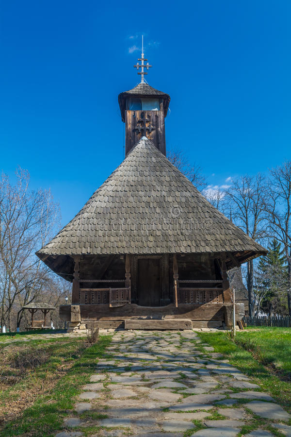Authentic Romanian village wooden church built with natural bio materials and ancient techniques stock photography