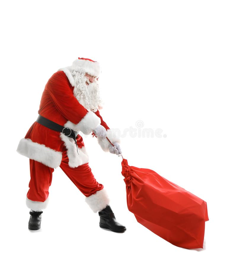 Authentic Santa Claus with red bag full royalty free stock photo