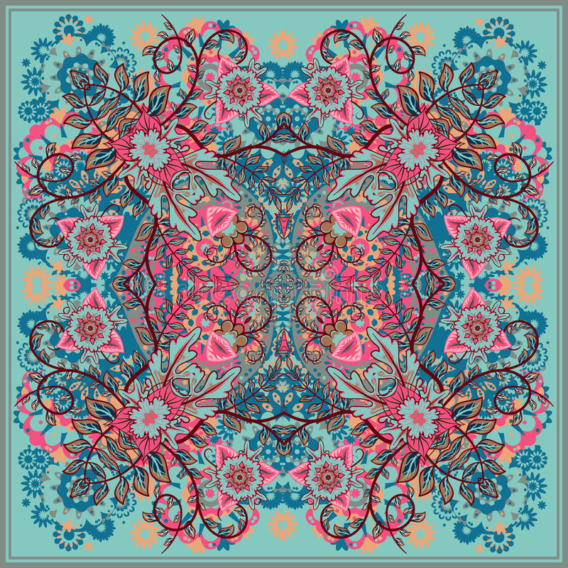 Authentic silk neck scarf or kerchief square pattern design in eastern style for print on fabric, vector illustration. Blue pink beige fantasy flower on light royalty free illustration
