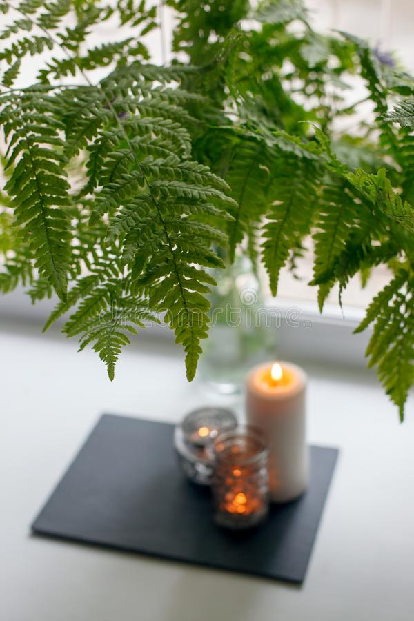 Authentic Tranquil Atmosphere. Kinfolk Hygge Slow Living Style. Candle in stone plate on windowsill and fern bouquet. Relax style stock photography