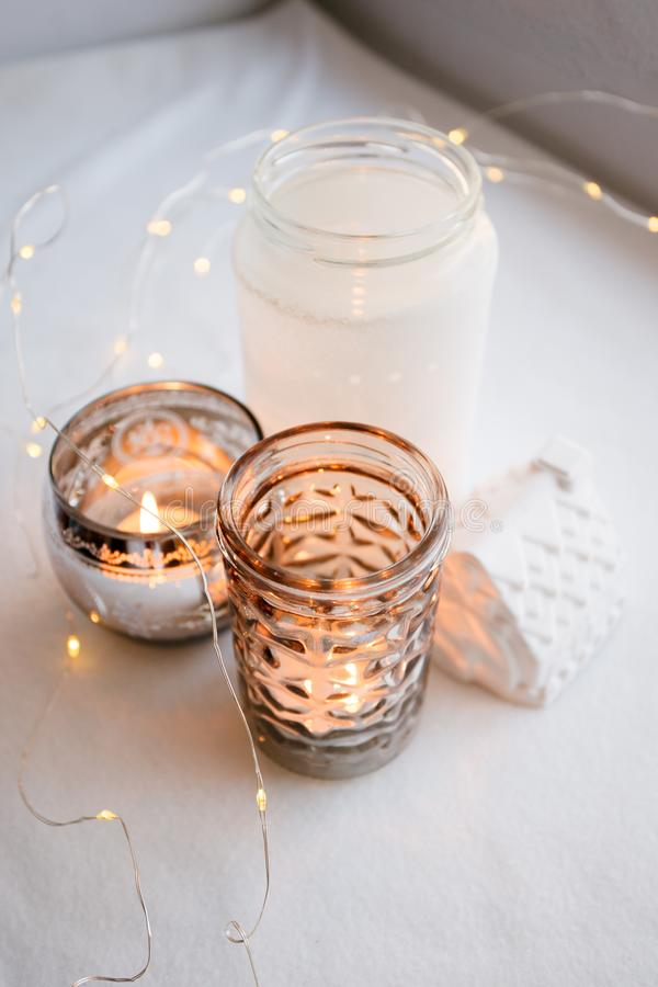 Authentic Tranquil Atmosphere. Kinfolk Hygge Slow Living Style. Cozy autumn or winter morning at home. stock photo