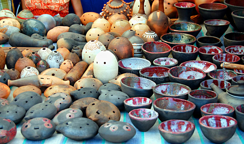 Authentic Ukrainian Pottery Stock Photo