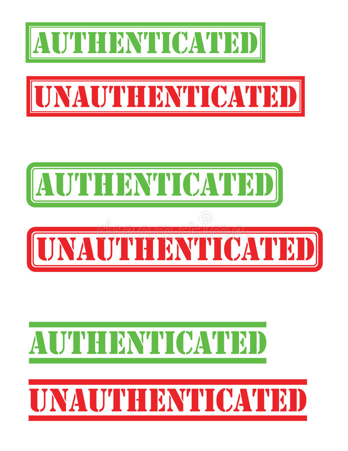 Authenticated unauthenticated stamp stock images