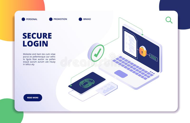 Authentication isometric concept. Password, login authorization fingerprint access. Data safe and protection landing vector illustration