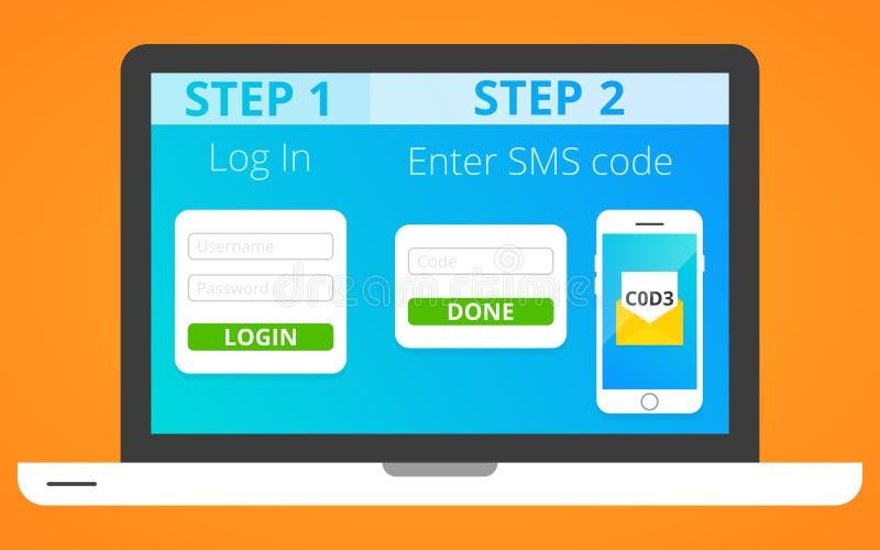 Authentication via SMS stock illustration