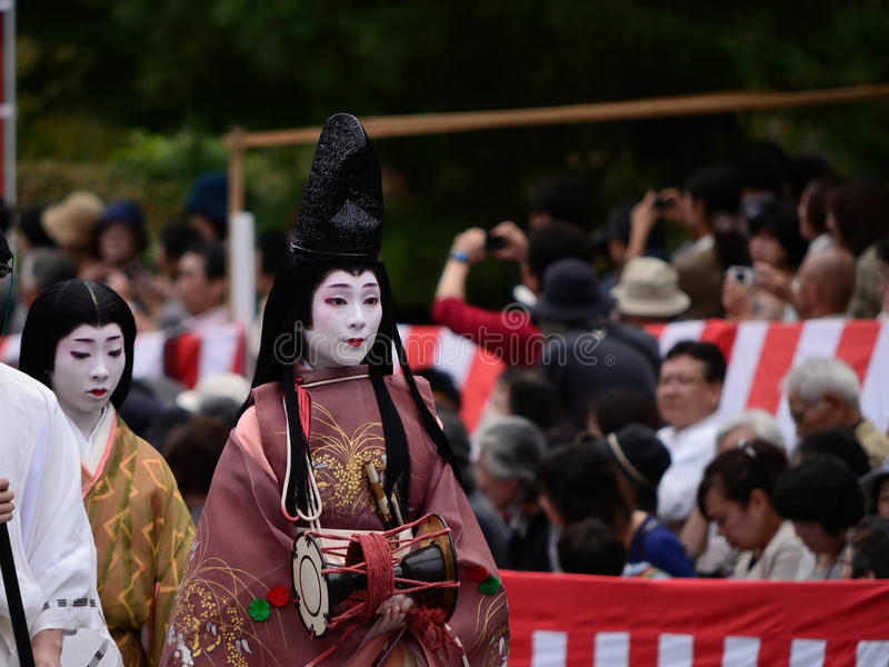 Authentiek Kimonokostuum bij de parade van Jidai Matsuri, Japan stock afbeelding