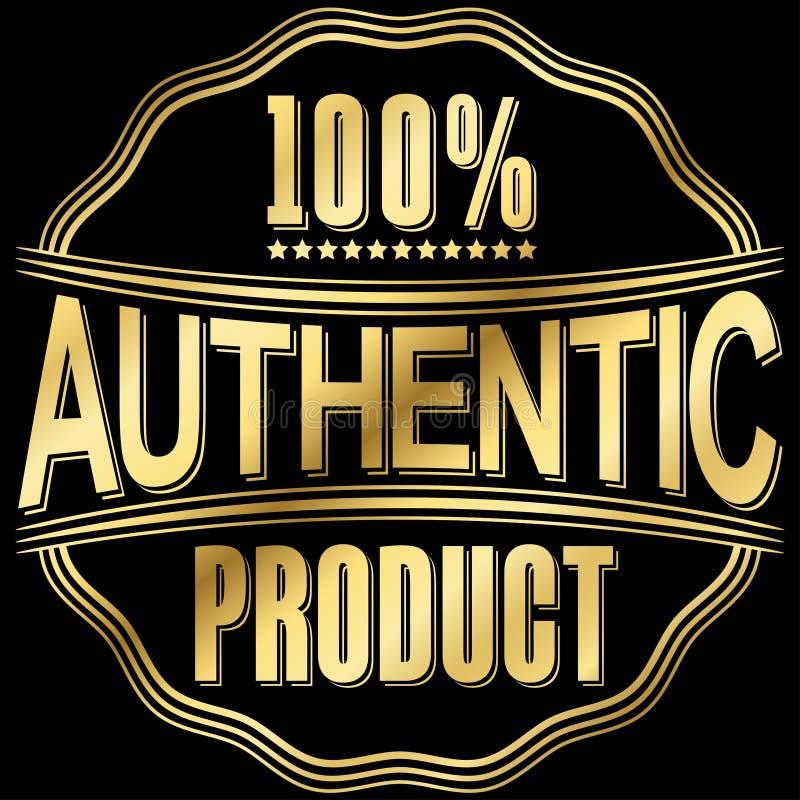Authentiek product gouden retro etiket, vectorillustratie stock illustratie
