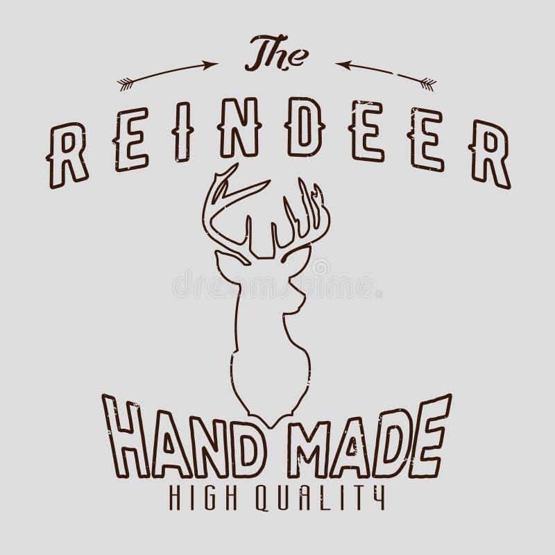Authentieke hipster logotype met rendier en pijlen royalty-vrije illustratie