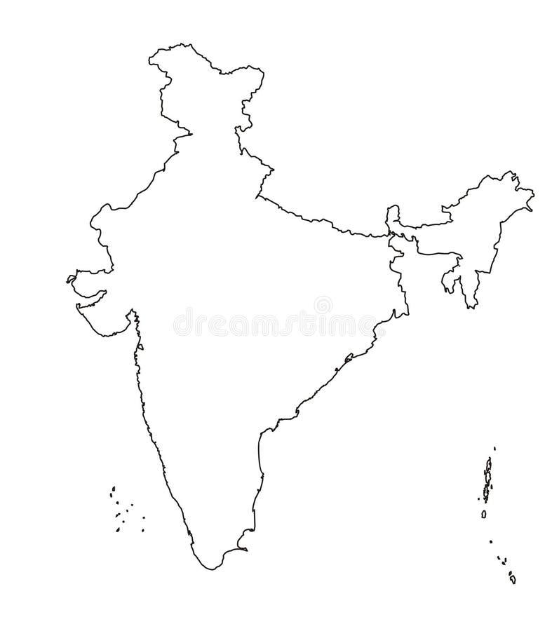 Authentieke kaart van India [overzicht] royalty-vrije illustratie