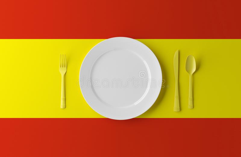 Authentieke Keuken van Spanje Plaat met Spaans Vlag en Bestek 3D Illustratie vector illustratie