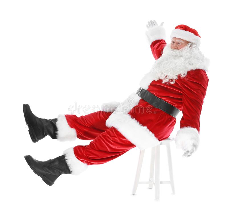 Download Authentieke Santa Claus-zitting Op Stoel Stock Afbeelding - Afbeelding bestaande uit vakantie, stoel: 107703037