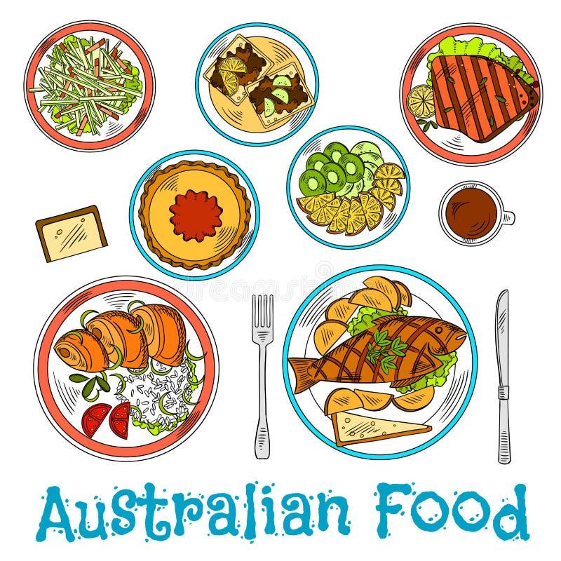 Authentieke schotels van Australische keukenschets vector illustratie