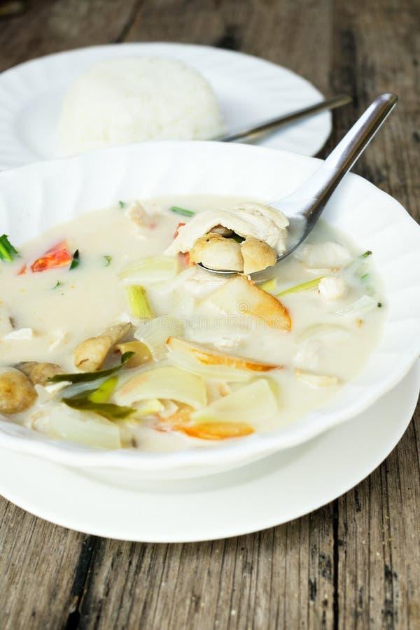 Authentieke Thaise dinerachtergrond: Van khagai van Tom de kruidige soep, duidelijke rijst en pao van stootkussenkra met gebraden stock foto