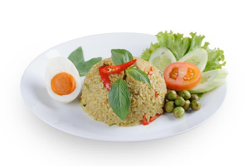 Authentieke Thaise groene kerrie gebraden rijst met gezouten ei royalty-vrije stock foto