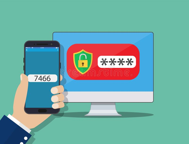 Authentification en deux étapes sur le smartphone illustration libre de droits