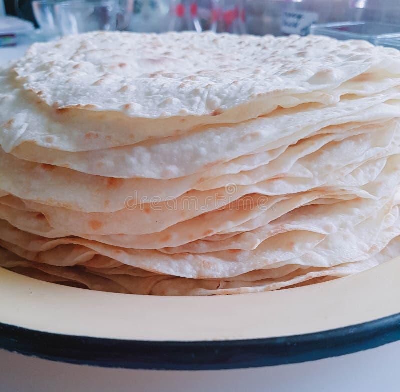 Authentische mexikanische Mehltortillas Leere homamade Tortillas lizenzfreies stockfoto