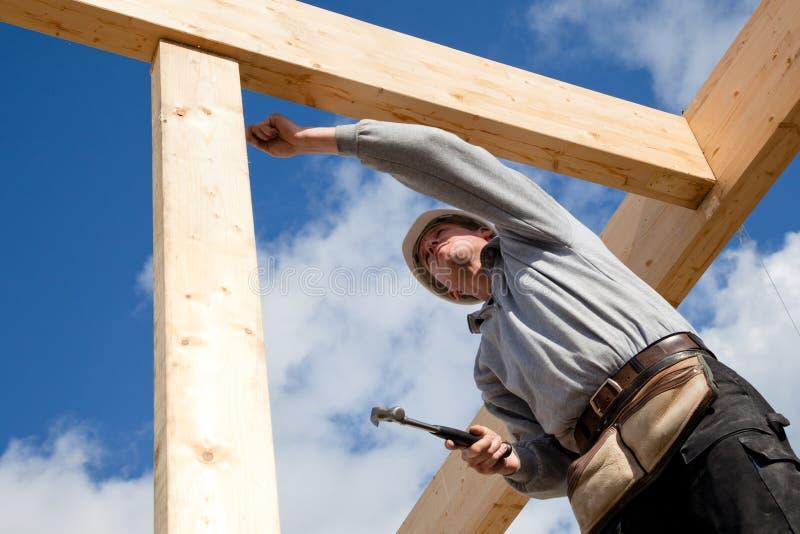 Authentischer Bauarbeiter stockbild