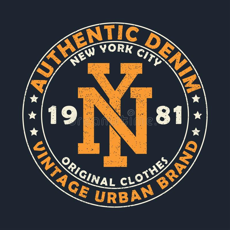 Authentisches Denim New York, städtische Markengraphik der Weinlese für T-Shirt Ursprüngliches Kleidungsdesign mit Schmutz Retro- stock abbildung